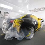 A Maserati in the paint booth Got in an accident?hellip