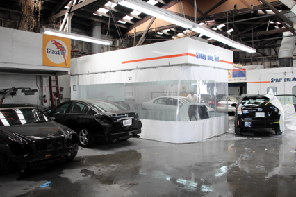 Paint Department at Crown Coachworks Auto Body and Paint where we color match with utmost care for your car.